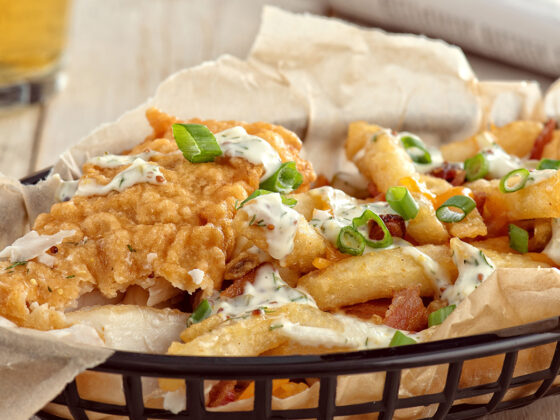 Beer Battered Fish with Loaded Bacon Cheddar Chips