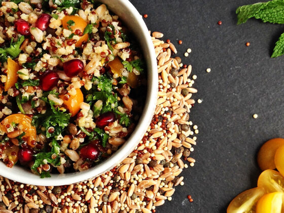 Honey Pomegranate Tabbouleh with Quinoa and Ancient Grains