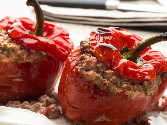 Stuffed Peppers with Ground Beef & Yogurt Recipe