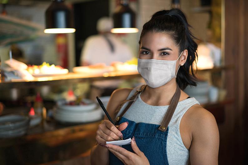 Restaurant staff wearing face mask