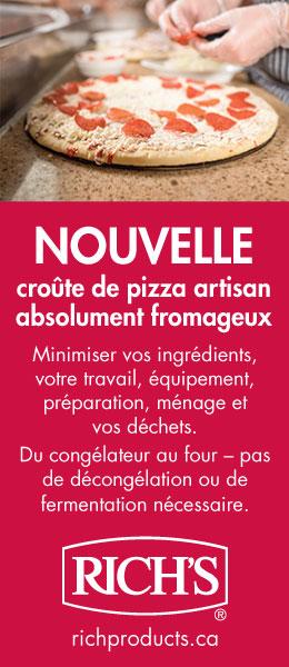 Rich's nouvelle croûte de pizza artisan absolument fromageux.